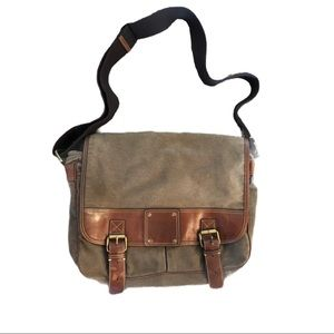 Fossil 54 Green Canvas & Brown Leather Messenger
